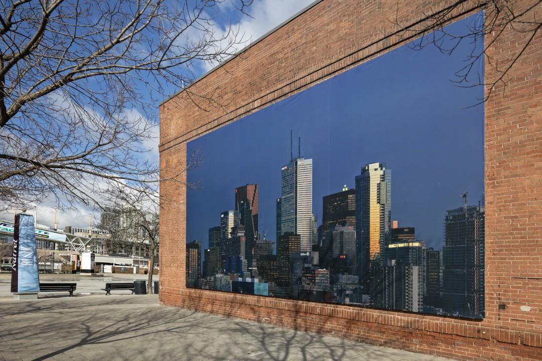 Installation view of Aude Moreau's, </span><span><em>Downtown Toronto (Twilight Time)</em>, </span><span>Photo: Toni Hafkenscheid