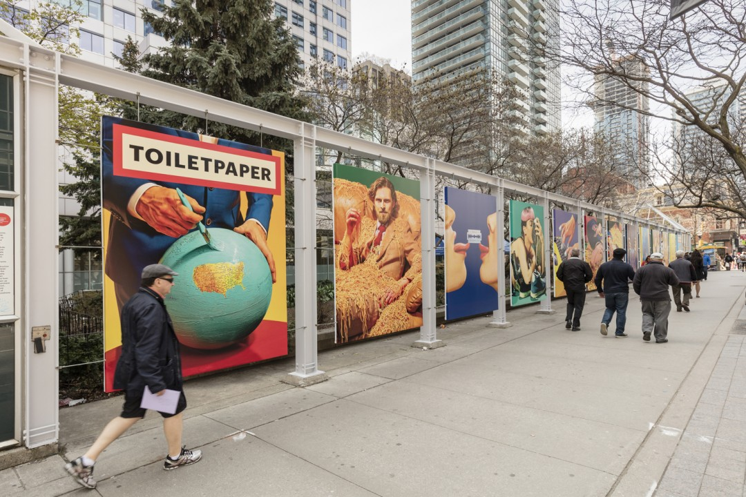 Installation view of Maurizio Cattelan and Pierpaolo Ferrari, </span><span><em>Toilet Paper: Toronto Carousel</em>, </span><span>Photo: Toni Hafkenscheid