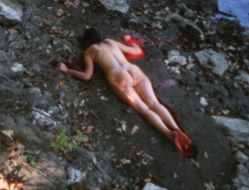 Ana Mendieta, </span><span><em>Silueta Sangrienta</em>, </span><span>Super-8mm transferred to high definition digital media, colour, silent. Image and artworks courtesy of the Estate of Ana Mendieta Collection, LLC and Galerie Lelong, New York.