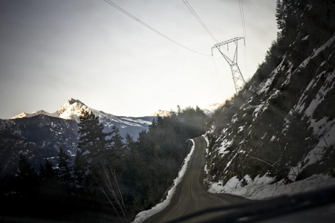 Installation view of Jonathan Taggart, </span><span><em>In-SHUCK-ch Mountain &amp; Road, Samahquam IR 1</em>, </span><span>2012