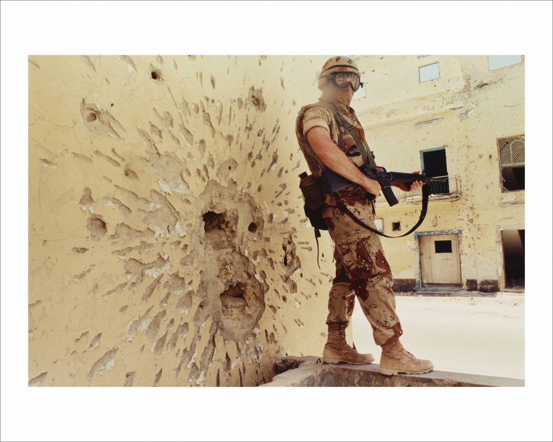 Dan Eldon, Untitled (A Marine stands guard), 1992