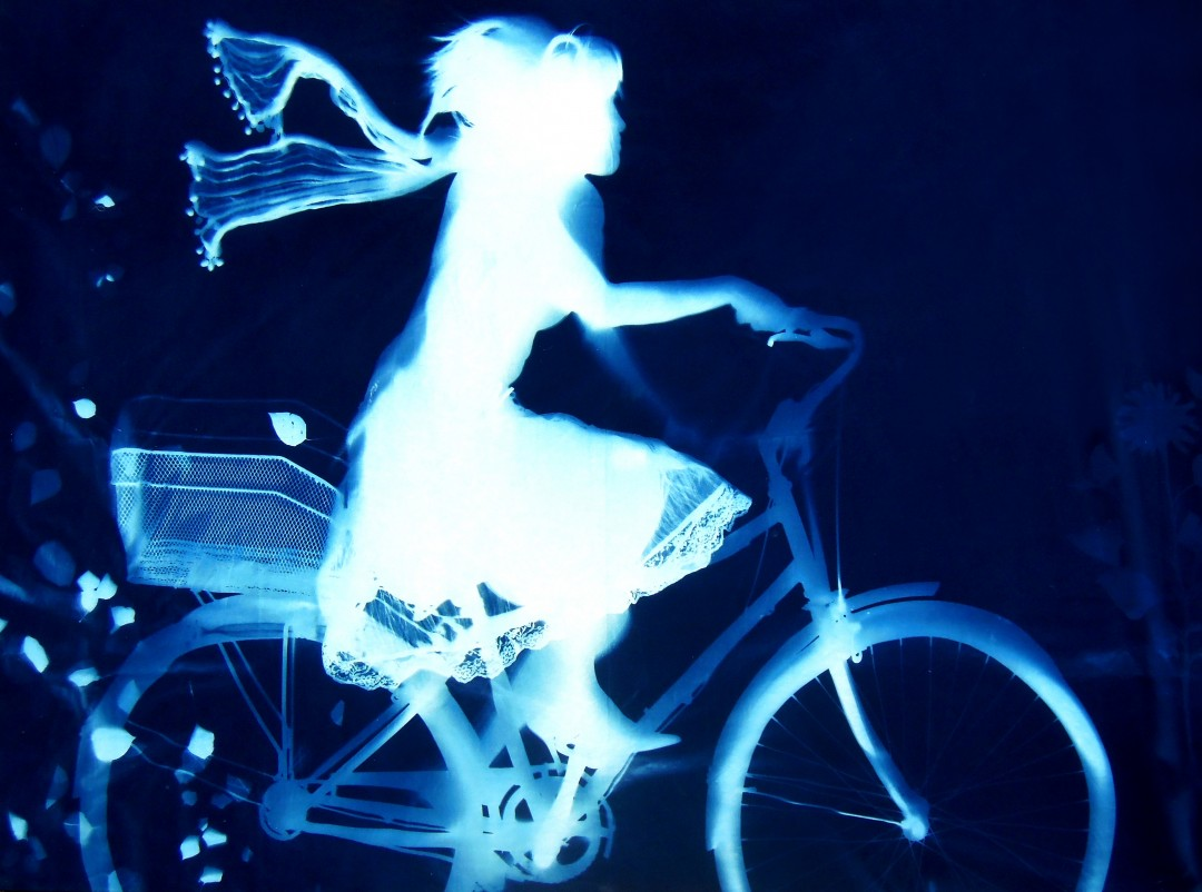 Andrew Owen A01, Elegant Cyclist;, 2014, cyanotype solargraph on fabric; 60 x 84 x 2 / 5 x 7 ft.