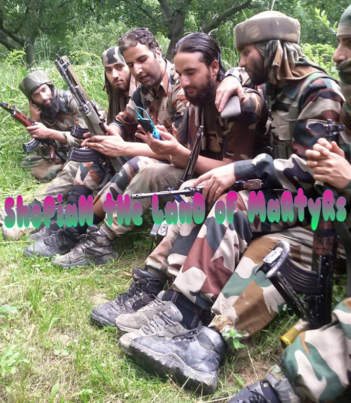 "Photographer unknown, </span><span><em>A group of Hizbul Mujahedeen militants from South Kashmir.  Photograph collected from the facebook group ""Shopian the Land of Martyrs""</em>, </span><span>2015. From the collection of Nathaniel Brunt"