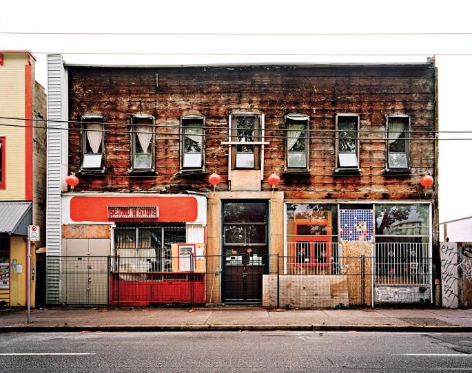"Morris Lum, </span><span><em>Ming Sun - Uchida Building</em>, </span><span>2014. Vinyl, 120x96""."