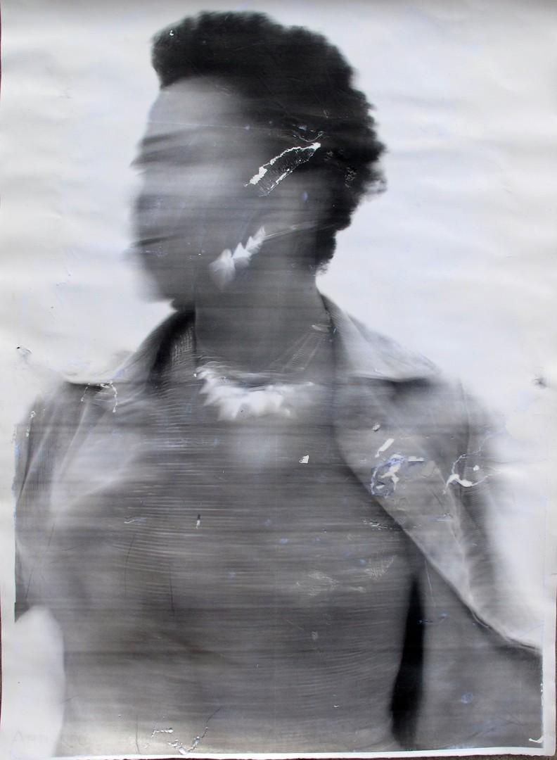 Sandra Brewster, Blur 4, 2016. Gel transfer on paper, 30x22