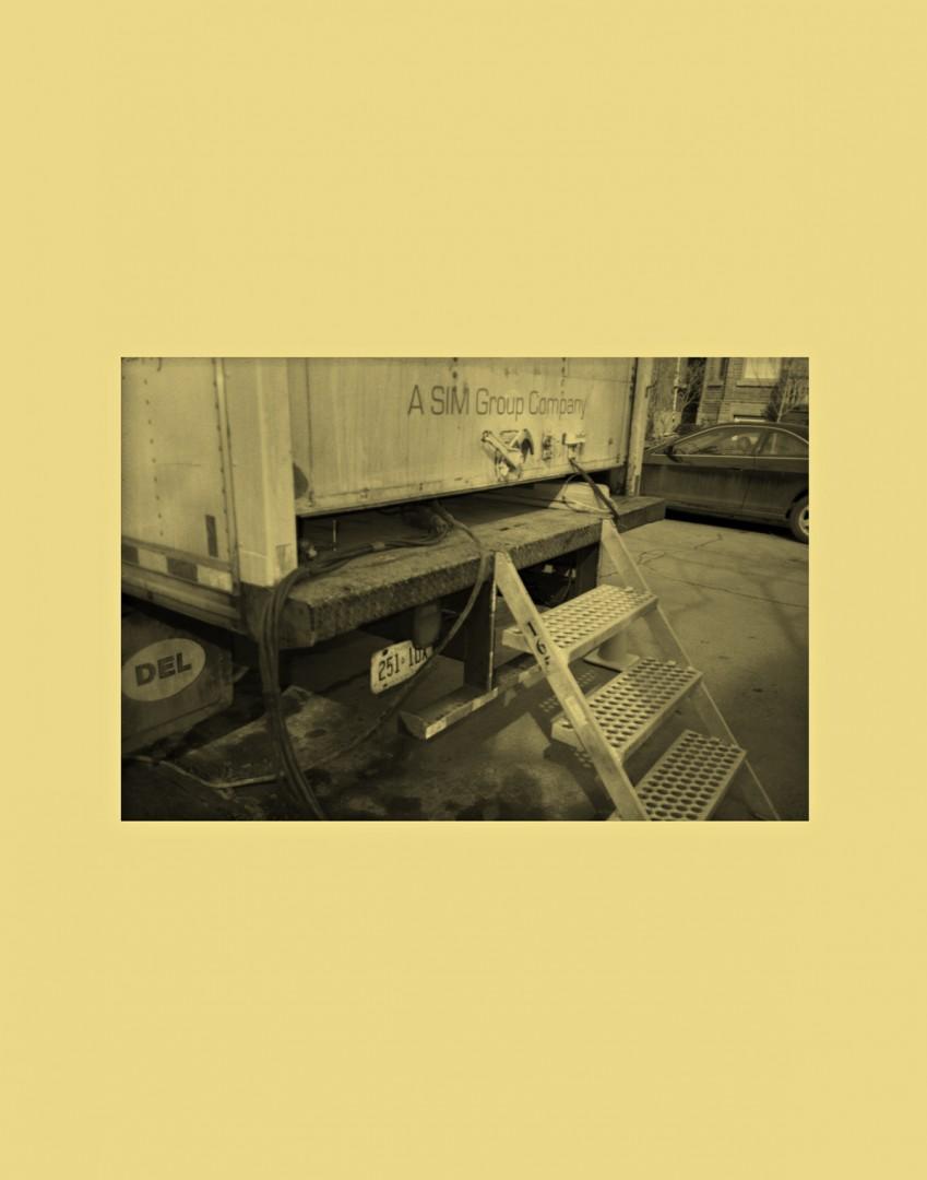 Sam Cotter, On Location (Truck 1), 2016. Inkjet print on vinyl, 14x72.
