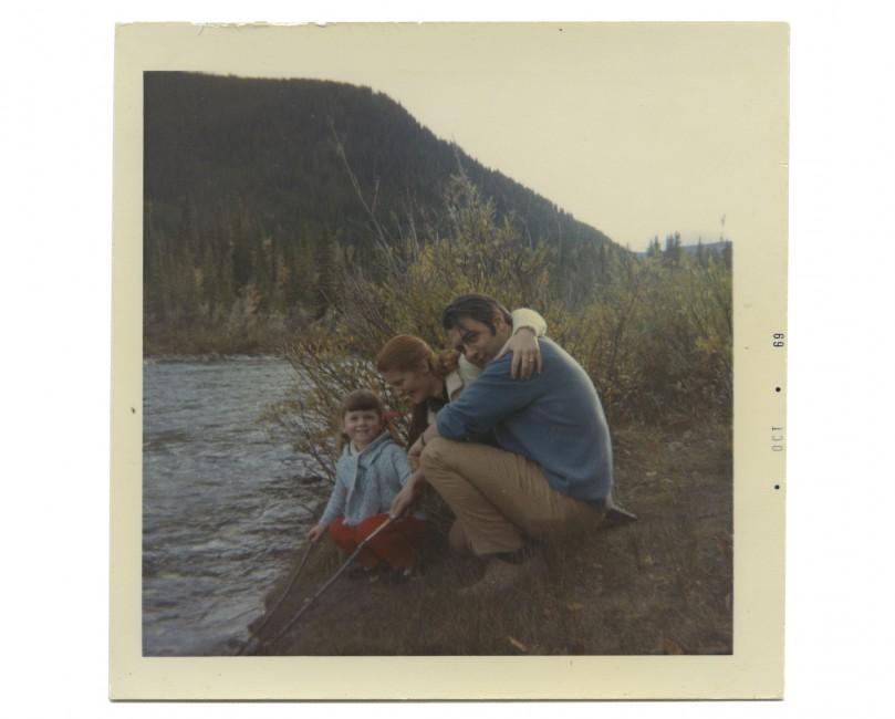 "Agnes Rees, </span><span><em>Madeline, Ann, Peter, Elbow Falls</em>, </span><span>1969. Dye coupler print, 3.4 x 3.4"". Courtesy of Ann Bassnett."
