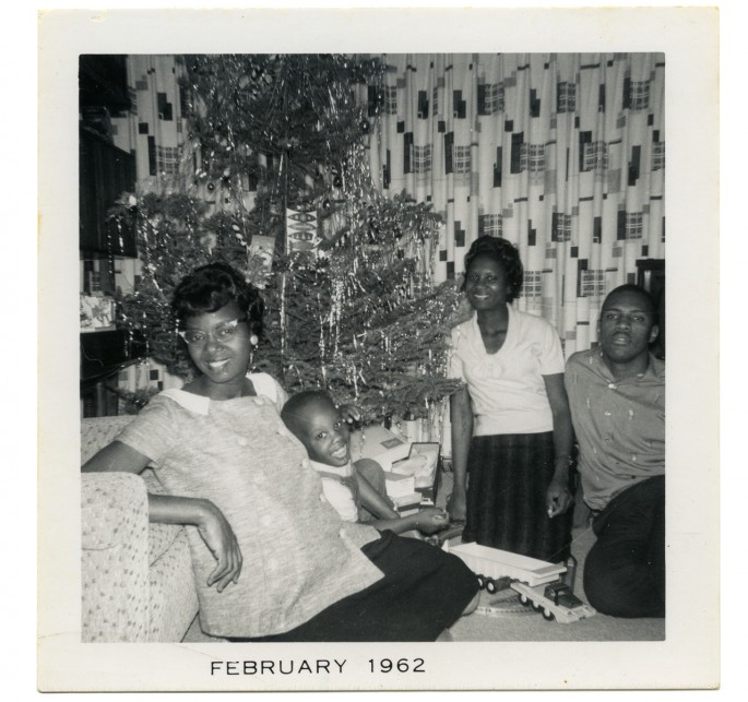 Photographer unknown, </span><span><em>Ellen Montague and her son Christopher; her sister Ruth Brown; and her husband Spurgeon Montague beside the Christmas tree, Windsor, Ontario</em>, </span><span>December 25, 1961. Courtesy of Dr. Kenneth Montague.