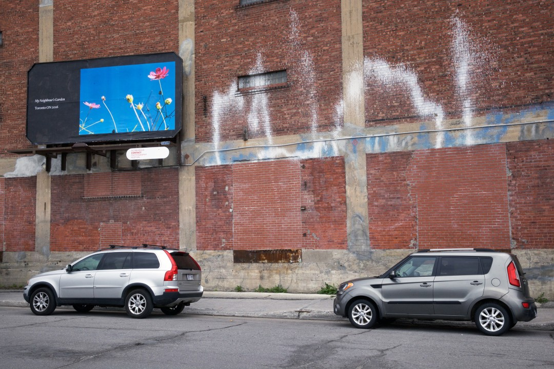 Seth Fluker, Blueberry Hill, installation view of billboards in Montreal. Van Horne Ave at St Laurence Blvd & St Urbain. 2017.
