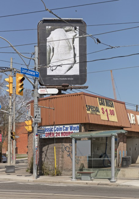 Seth Fluker, </span><span><em>Blueberry Hill</em>, </span><span>installation view of 6 billboards in Toronto. Lansdowne Ave at College and Dundas St W. 2017. Photo by Toni Hafkenscheid.