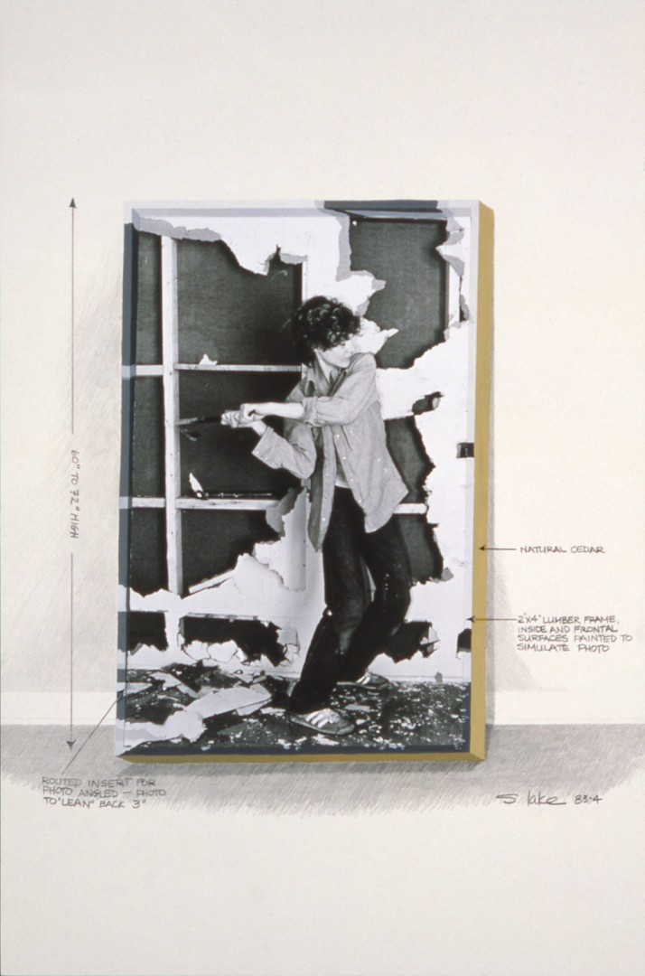 Suzy Lake, </span><span><em>Pre:Resolution: Using the Ordinances at Hand working drawing</em>, </span><span>1985. Gelatin silver print, gouache, graphite pencil, 22 × 18&quot;. Courtesy of Georgia Scherman Projects and the artist.