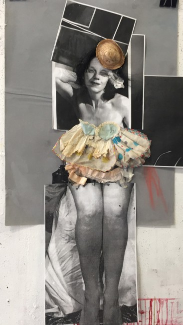 Angela Grossmann, </span><span><em>Old Doll</em>, </span><span>Mixed-media collage with human hair and doll clothes, 22x40&quot;.