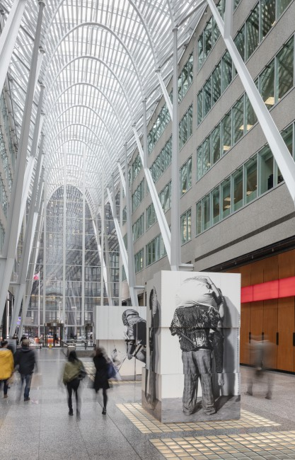 Valérie Blass, </span><span><em>Nous ne somme pas des héros</em>, </span><span>Installation view at Brookfield Place, 2017. Photo by Toni Hafkenscheid.