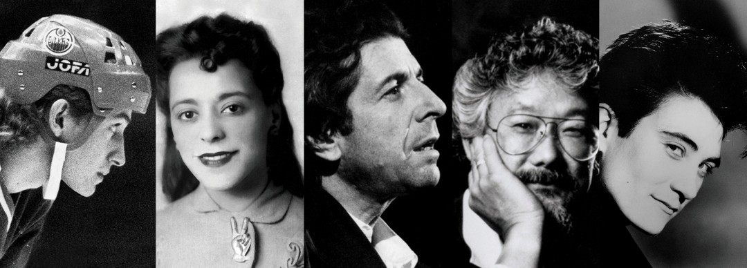 Detail of, Spotlight Canada: Faces That Shaped a Nation, [Wayne Gretzky, Viola Desmond, Leonard Cohen, David Suzuki, k.d. lang]. Courtesy of Ryerson Image Centre, Ryerson University.