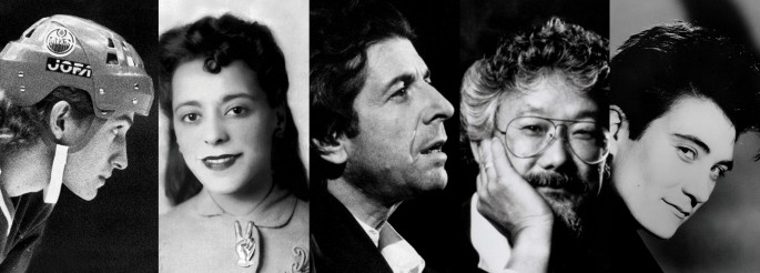 Detail of, </span><span><em>Spotlight Canada: Faces That Shaped a Nation</em>, </span><span>[Wayne Gretzky, Viola Desmond, Leonard Cohen, David Suzuki, k.d. lang]. Courtesy of Ryerson Image Centre, Ryerson University.