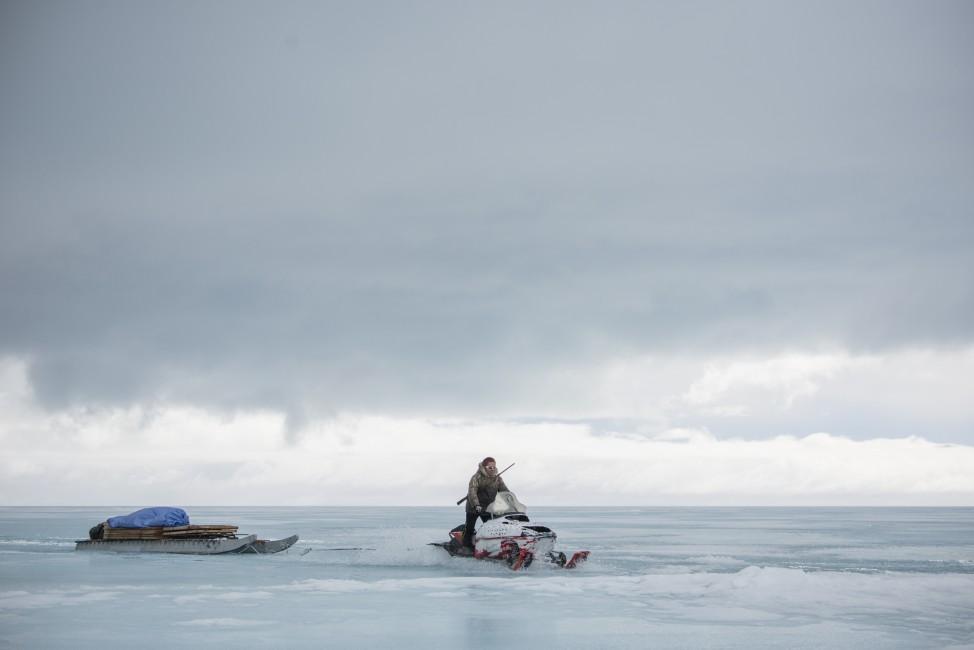 Ann Leese, </span><span><em>Floe Edge Snowmobiler, Baffin Island</em>, </span><span>2014. Archival pigment print 48 x 32&quot;, edition of 8