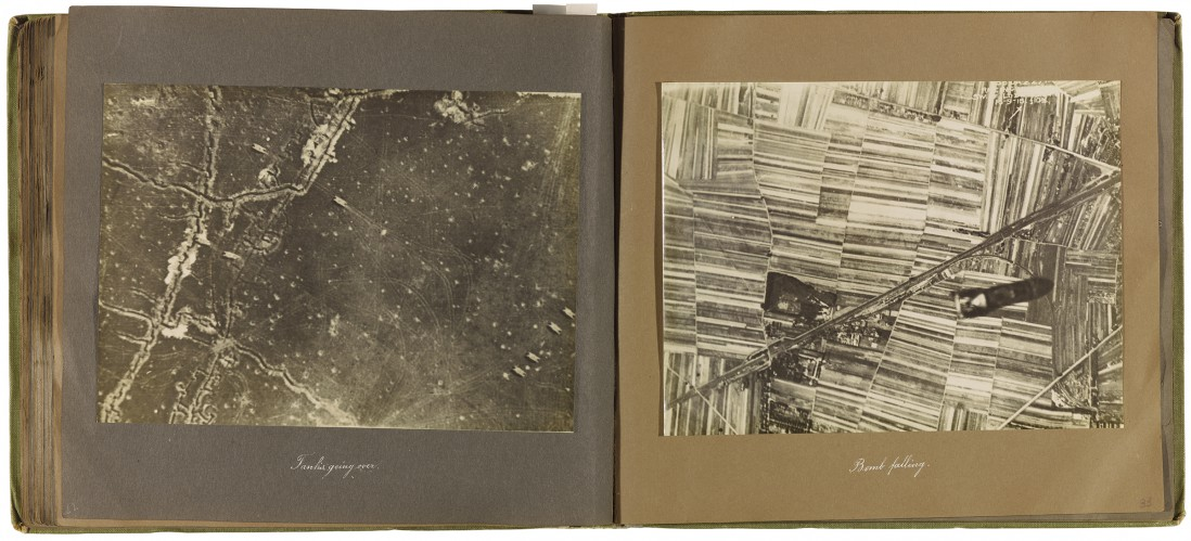 Ernest Haghever gelatin prints, in bound fabric. Anonymous Gift, 2004. 2004/306 © 2018 Art Gallery of Ontario, </span><span><em>Tanks going over and Bomb falling</em>, </span><span>from Album of the 6th Brigade Royal Air Force, 1916 – 1919.