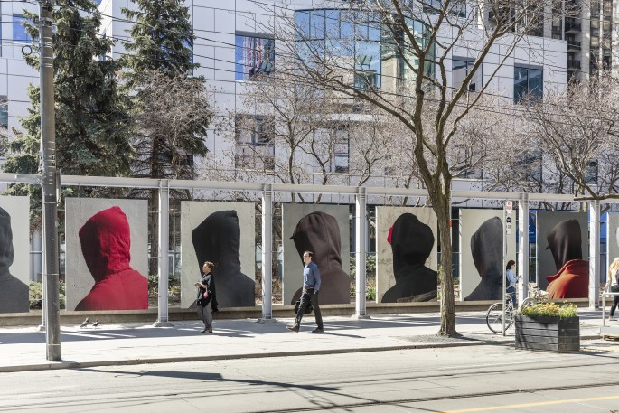 John Edmonds, </span><span><em>Hoods</em>, </span><span>2018. Installation at Metro Hall. Photo by Toni Hafkenscheid
