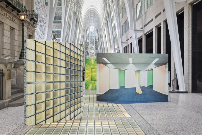 Marleen Sleeuwits, </span><span><em>Not The Actual Site</em>, </span><span>Installation view at Brookfield Place. 2018. Photo by Toni Hafkenscheid