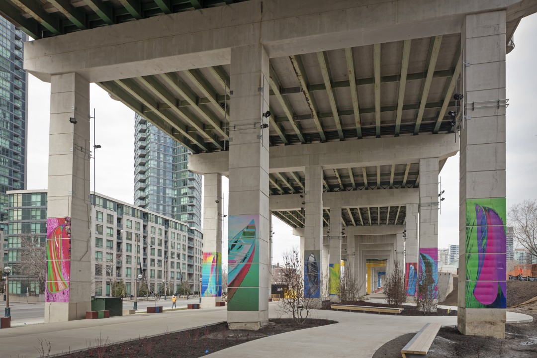 Dana Claxton, A Forest of Canoes, 2018. Installation at The Bentway. Photo by Toni Hafkenscheid.