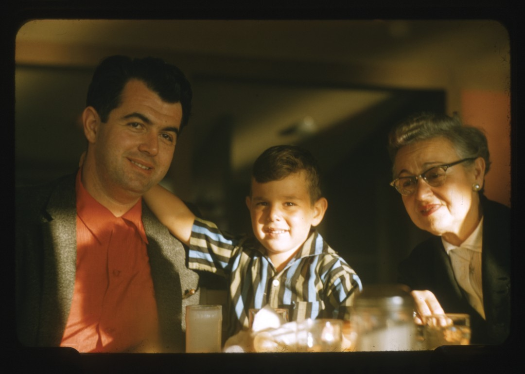 """John E. Ackerman, Harold and Gary with Mrs. Tattlebaum, 1957. Archival Pigment Print, 5 x 7"""". © Ontario Jewish Archives, Blan- kenstein Family Heritage Centre (UJA Federation), accession 2013-10-3"""
