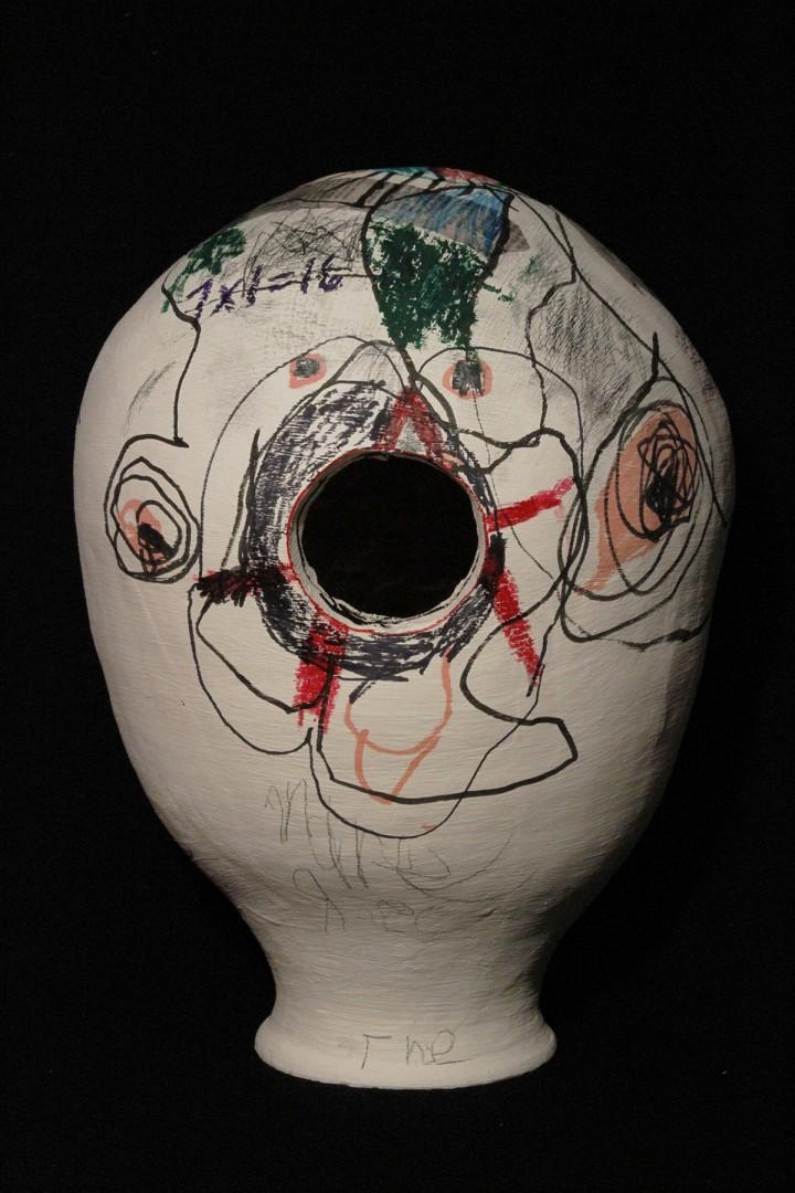 "Tim Roda, </span><span><em>Anarchy Pot (pin-hole camera)</em>, </span><span>2018. Ceramic and mixed media, 14.5 x 11 x 11"". Courtesy of the artist."