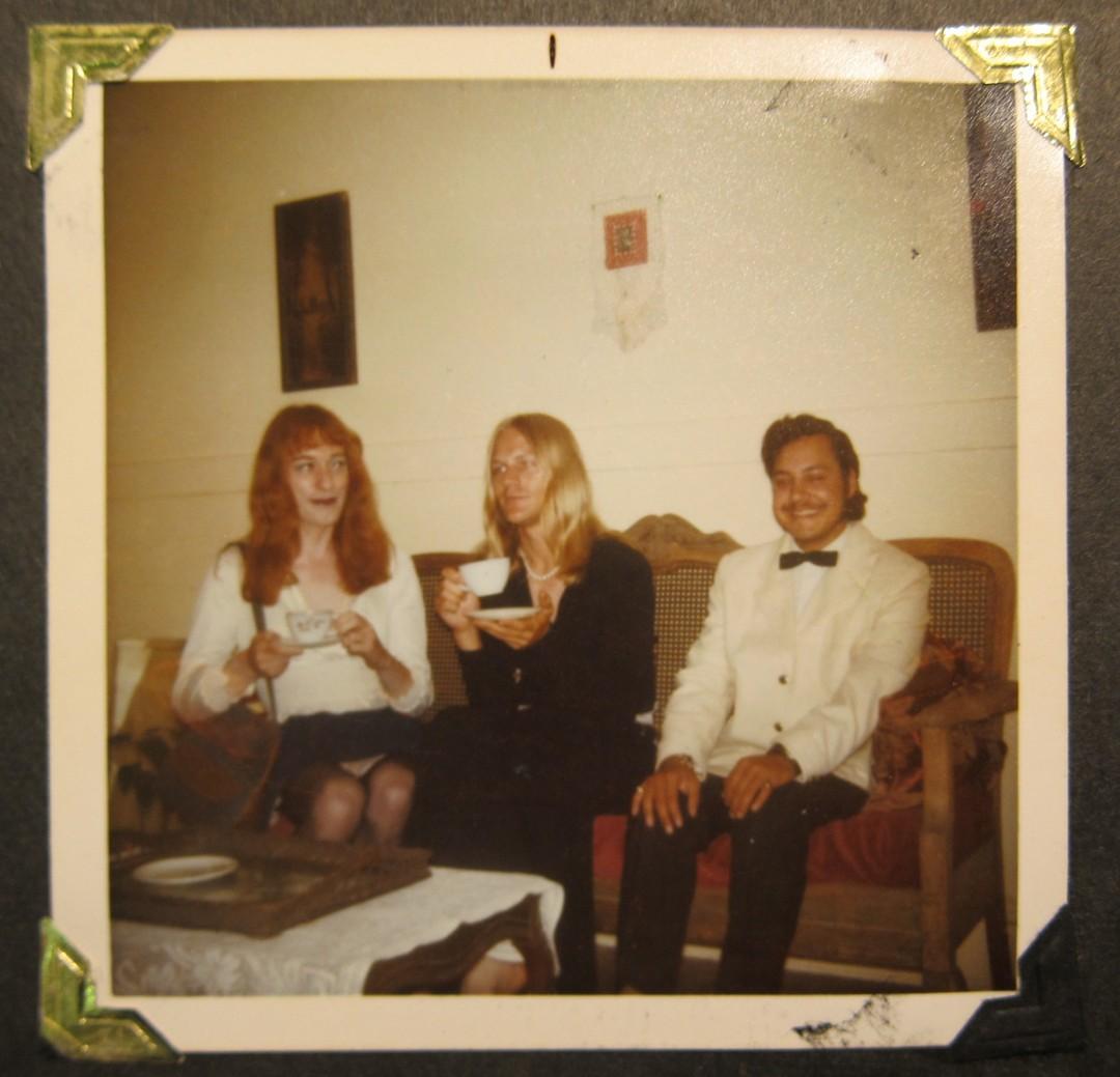 "Photographer: unknown, Rupert Raj, Michael Camp, & Micheline Johnson, c. 1974, Kodacolor print, 3.5"" x 3.5"", Courtesy of the CLGA & Rupert Raj. Photographer: unknown"