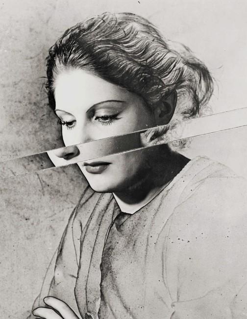 Erwin Blumenfeld, </span><span><em>Portrait Solarised and Cut</em>, </span><span>circa 1938. Silver gelatin print, 13 × 10.5&quot;