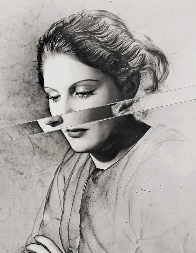 Erwin Blumenfeld, </span><span><em>Portrait Solarised and Cut</em>, </span><span>circa 1938. Silver gelatin print, 13 × 10.5&quot;.