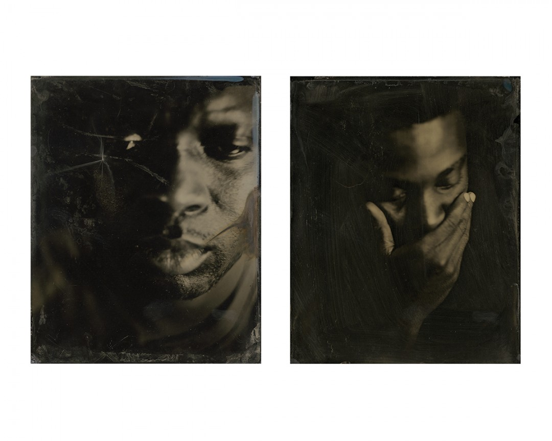 Kevin J Mellis, from the Black on Black Series, 2012. Large format wet plate collodion on 3mm black glass.