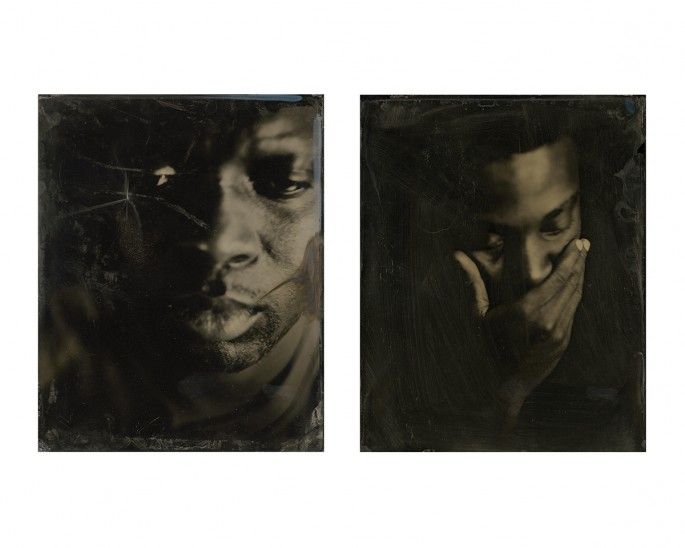 Kevin J Mellis, </span><span><em>from the Black on Black Series</em>, </span><span>2012. Large format wet plate collodion on 3mm black glass.