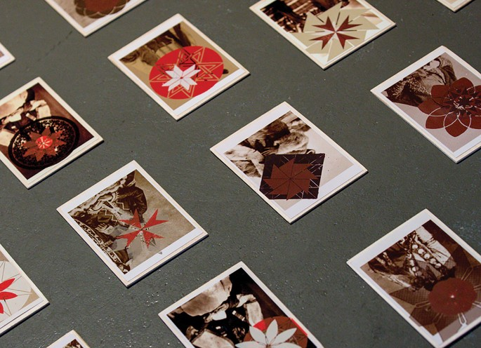 Maryse Arseneault, </span><span><em>Sanguine et Terres Brulées / Blood Ties, Scorched Earth (detail)</em>, </span><span>2011. Installation view. Screenprint on photographs mounted on birch tiles.