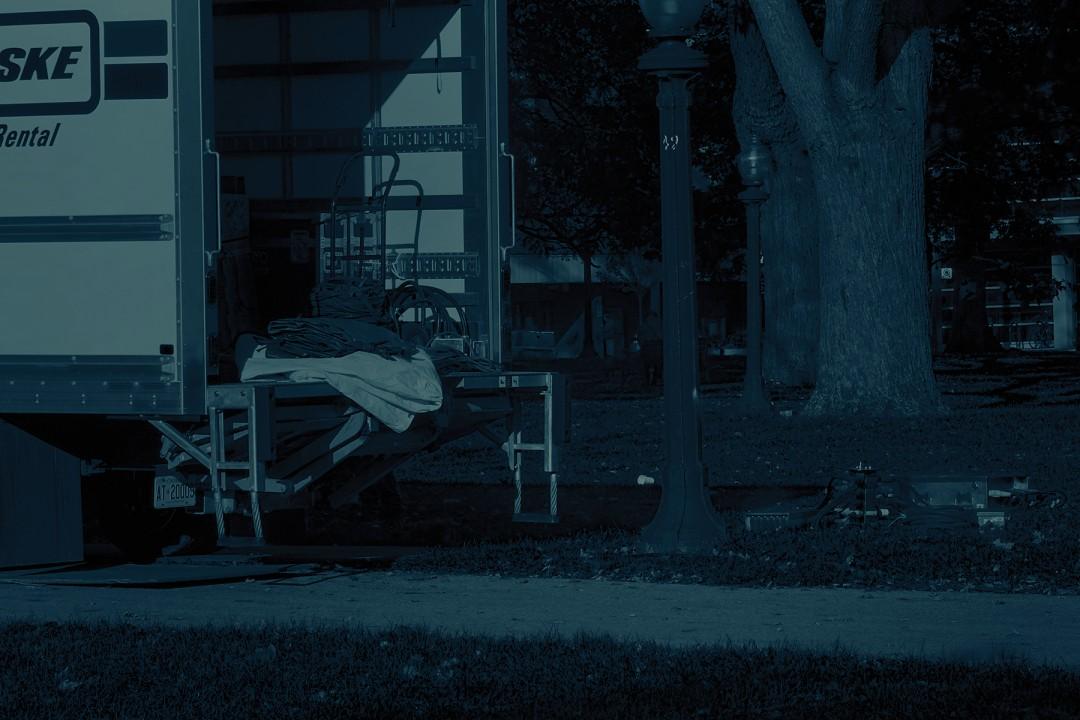 Sam Cotter, Unloading, 2017. Cyanotype, 15 × 22.