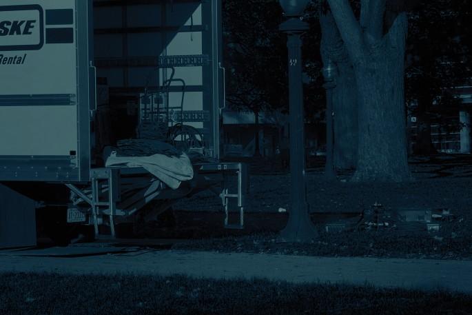 Sam Cotter, </span><span><em>Unloading</em>, </span><span>2017. Cyanotype, 15 × 22&quot;.