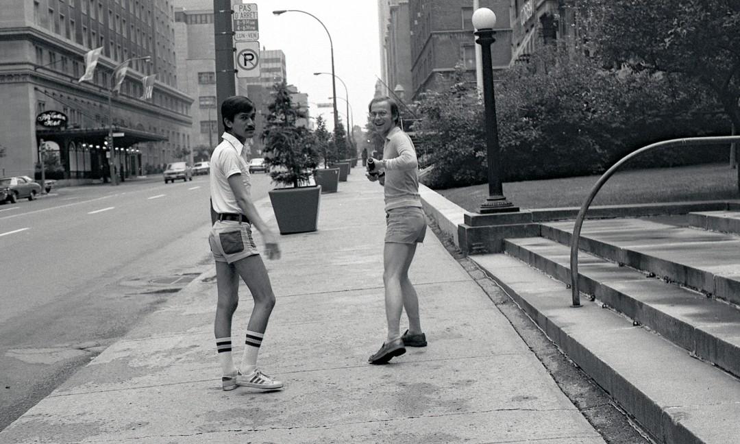"Sunil Gupta, </span><span><em>With my lover Rudi near the Ritz Carlton on Sherbrooke Street</em>, </span><span>circa 1974. Archival pigment print, 23 x 15"". © Sunil Gupta, courtesy of Stephen Bulger Gallery"
