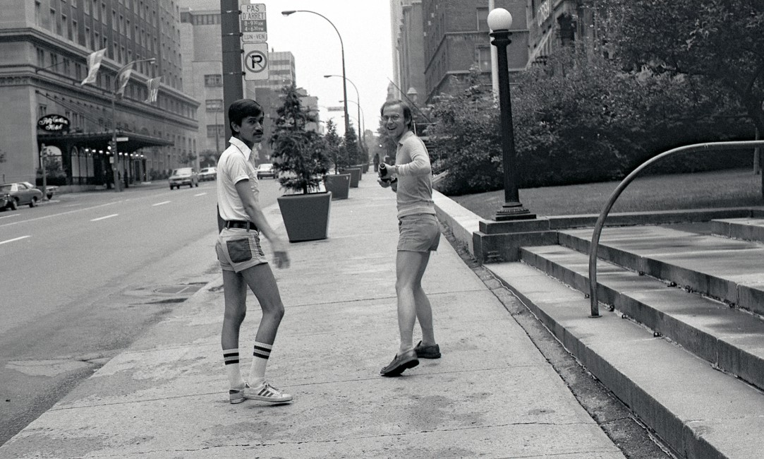 "Sunil Gupta, </span><span><em>With my lover Rudi near the Ritz Carlton on Sherbrooke Street</em>, </span><span>circa 1974. Archival pigment print, 23 x 15"". © Sunil Gupta, courtesy of Stephen Bulger Gallery"