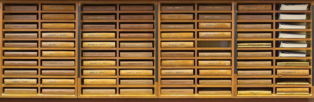 Daniel Alexander, Ledgers listing the names and memorial sites of all WWI Commonwealth war dead, 2014. Courtesy of the artist.