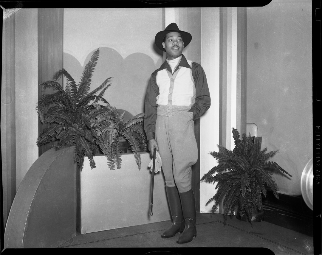 "Charles ""Teenie"" Harris, Model Louis Smith wearing Jodhpurs, 1940-1945. Silver Gelatin print. Courtesy of Carnegie Museum of Art, Pittsburgh."