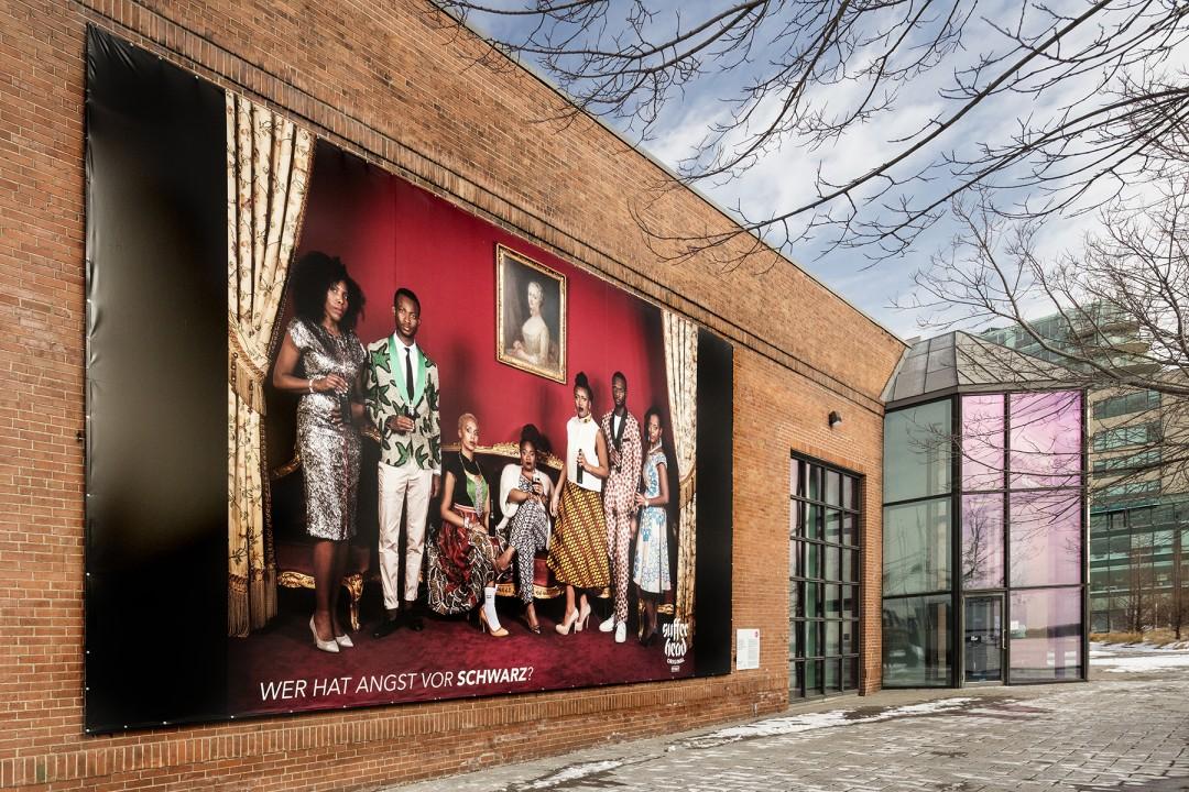 Emeka Ogboh, WER HAT ANGST VOR SCHWARZ: Casino Baden-Baden series, Installation view at the Power Plant. 2018. Photo by Toni Hafkenscheid