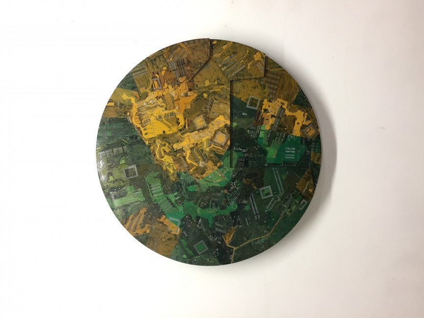 Wally Dion, </span><span><em>Butterfly</em>, </span><span>37 ¼ inches diameter, recycled circuitboards, plywood, nails, 2018 .