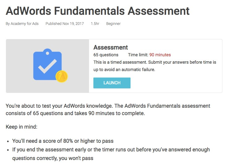 Adwords Fundamentals Assessment