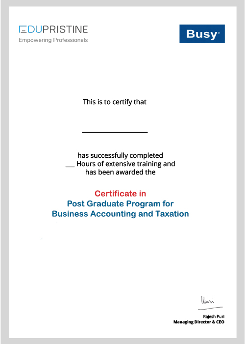 BAT Busy Certificate