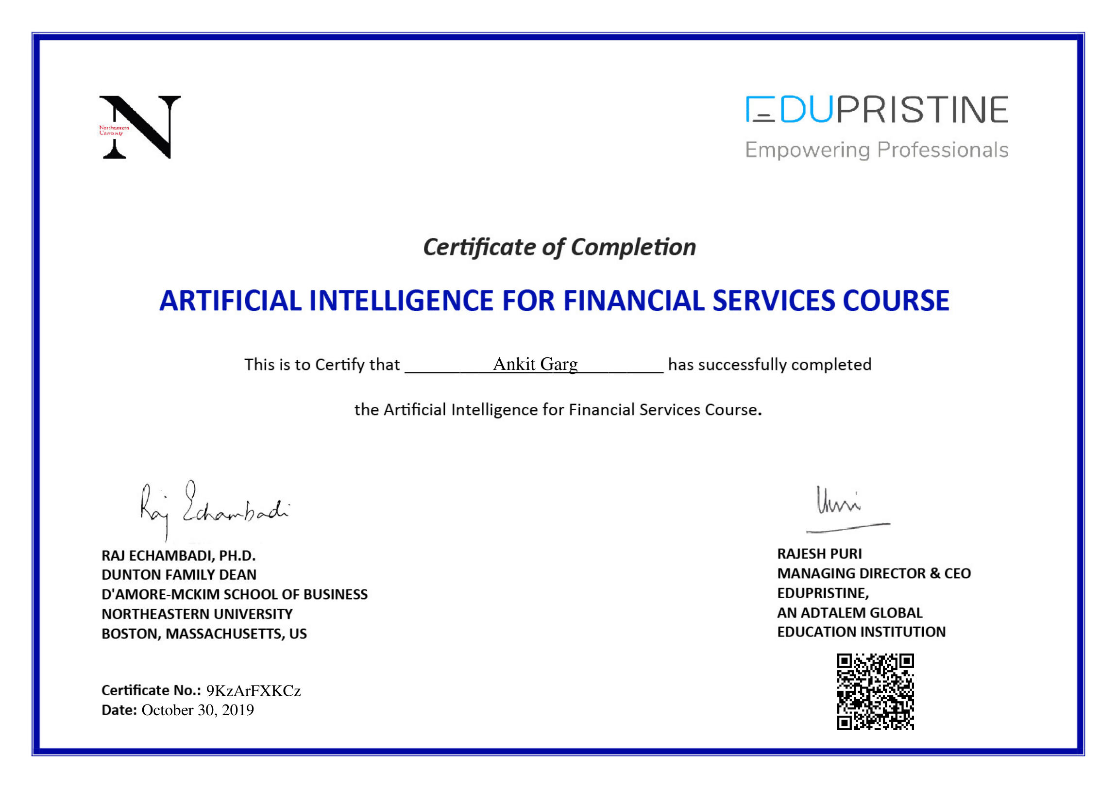 Artificial Intelligence for Financial Services Certificate