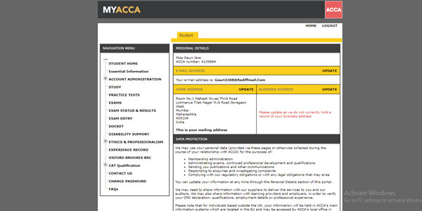 Step-by-step procedure of creating myACCA account