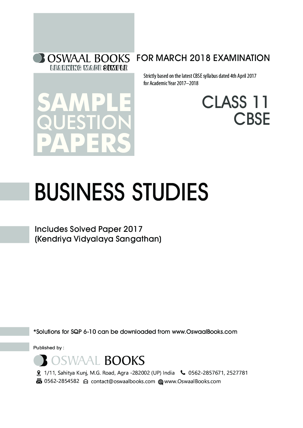 Oswaal cbse sample question papers for class xi business studies oswaal cbse sample question papers for class xi business studies mar 2018 exam by panel of experts fandeluxe Image collections