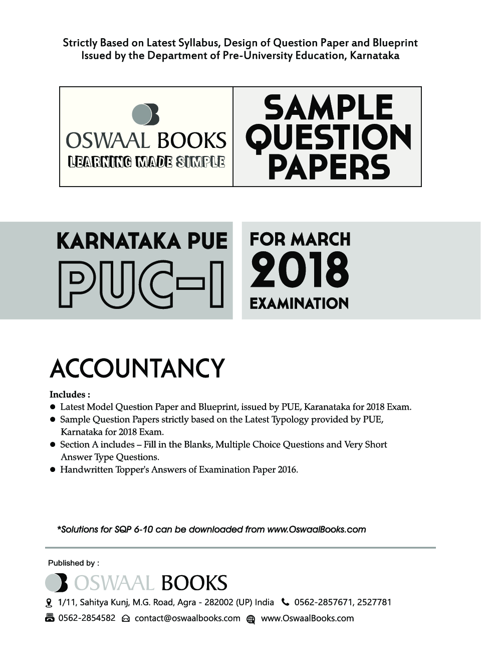 Oswaal karnataka pue sample question papers for puc i accountancy oswaal karnataka pue sample question papers for puc i accountancy march 2018 exam by panel of experts malvernweather Image collections