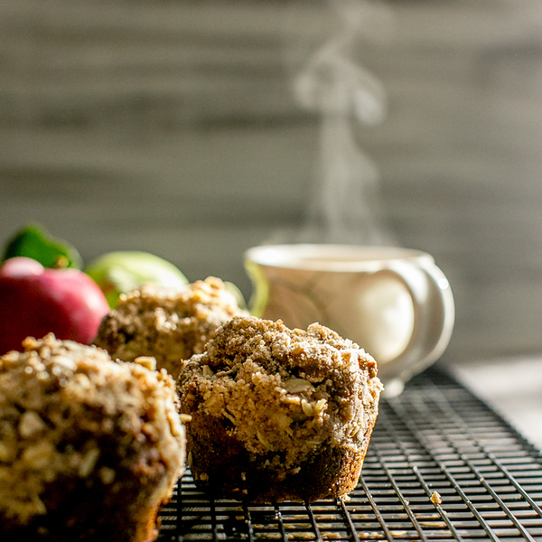 Vegan Apple Gingerbread-Oat Walnut Muffins with Brown Sugar Streusel