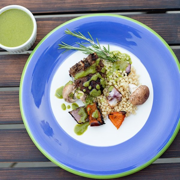 Grilled Lamb with Mint Pesto
