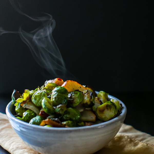 Roasted Brussels Sprouts and Pear with Thyme