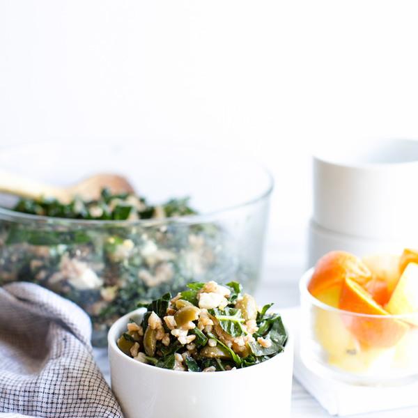 Farro Kale and Olive Salad